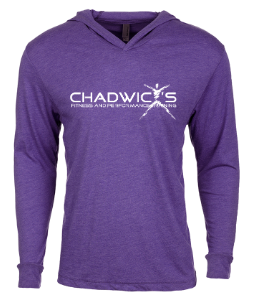 Chadwicks logo on purple hoodie for Personal Training, Group Fitness, Sports Training, Strength & Conditioning Class